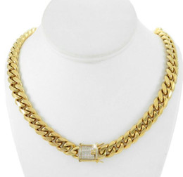 $enCountryForm.capitalKeyWord Australia - Men's Miami Cuban Link Chain 18k Gold Plated Real Stainless Steel Diamond Clasp