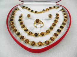 Yellow onYx jewelrY online shopping - Women s Wedding women s jewelry tiger s eye gem yellow Earring Bracelet Necklace Ring box real silver jewelry