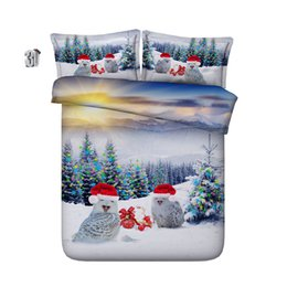 cotton printed christmas bedding set 2020 - 150x200CM 3D Christmas hat owls Duvet Cover Bedding Sets Bedspreads Holiday Quilt Covers Bed Linen Pillow Covers animals