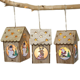 small wooden houses 2019 - Small LED Light Wooden House Christmas Tree Pendants New Year Decorations For Home Table Ornaments Xmas Tree Hanging Dec