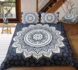 $enCountryForm.capitalKeyWord Australia - Navy Bohemia Style Bedding Set King Size White Big Flower Simple 3D Duvet Cover Queen Home Dec Single Double Bedspread with Pillowcase