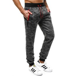 Tracking Workouts Australia - Mens Pants Zipper Pocket Joggers Trousers Elastic Waist Homme Sweat Pants Hombre Track Workout Pant Gray Sweatpants Streetwear