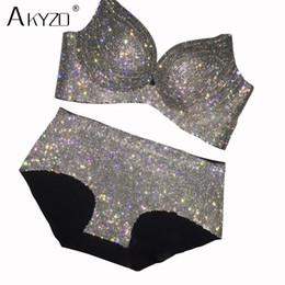 465a0c02 AKYZO Luxury rhinestone bra set women sexy shiny high quality diamond  elastic padded bra for lady
