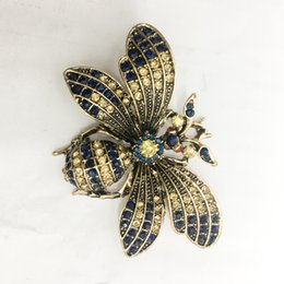 pins big Australia - Doluo Fashion Retro big bee brooch alloy rhinestone brooch Pin classic brooch dress accessories gift for women Jewelry