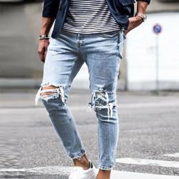 Wholesale slim fit jeans streetwear resale online – designer Vertvie Men Ripped Jeans Casual Skinny Jean Destroyed Hole Slim Fit Denim Pants Male Ankle Elastic Denim Jean Trouser Streetwear