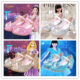 Wholesale Canvas High Shoes Australia - Glitter Girls High Heels Shoes For Children Kids Princess Sandals Tie Bowknot Baby Girls Crystal Shoes For Wedding Party 27-37Y A42506