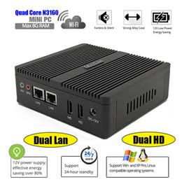 Discount intel core quad desktop - Rugged PC Celeron N3160 Quad Core Fanless Mini PC 2.24GHz Dual Nuc Dual HDMI Linux Windows 10 Mini Desktop Computer Seve