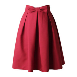 fc4a051603 2019 Causual Bow Pleated Women Skater Skirts Knee Length Summer High Waist  Ladies Solid Black Ball Gown