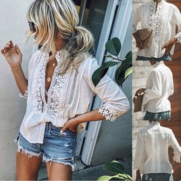 Women Fashion Lace Australia - Women Blouses Fashion Lace Hollow Out Loose Blouse Long Sleeve White Shirt Tops Stylish Summer Women Girl Tops