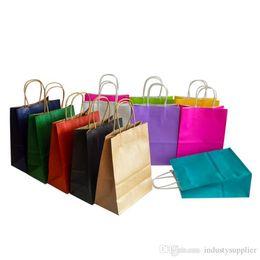 Ingrosso Shopping Bags sacchetto di carta kraft colore morbido multifunzione carta di alta qualità con le maniglie Festival Confezione regalo nave 21x15x8cm Borsa veloce A06