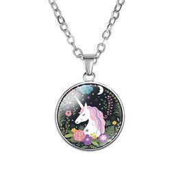$enCountryForm.capitalKeyWord Australia - 10PC New Fashion Animal Jewelry Round Glass Silver Pendant Unicorn Horse Fancy Necklace Jewelry Style Art Photo Gifts For Girl
