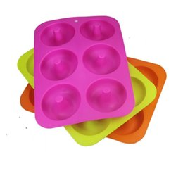 Baking Moulds 6 Cavity Non-Stick Donut Mould Baking Mold Mould Pan Donut Muffin Cake Silicone Doughnut Bakeware DHL Free LXL1374 on Sale
