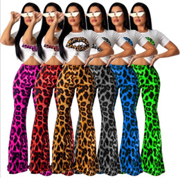 leopard print t shirt women s Australia - Leopard Print Women Tracksuits Short Sleeve T shirt Tops+ Sexy leopard print lip flared pants Two Piece Outfits Junior Sportswear