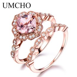 morganite sterling silver rings Australia - UMCHO 925 Sterling Silver Ring Set Female Morganite Engagement Wedding Band Bridal Vintage Stacking Rings For Women Fine Jewelry SH190930