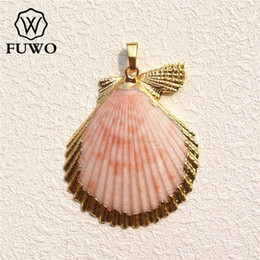 $enCountryForm.capitalKeyWord Australia - Fuwo Natural Scallop Shell Pendant 24k Gold Electroplated Multicolour Seashell Minimalist Coastal Jewelry Wholesale Pd530 J190711