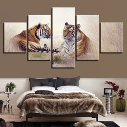 Panels Scenery Canvas Art Prints Australia - Modern Wall Art Animals Canvas Pictures HD Printed 5 Panel Tiger Couples Scenery Poster Decor Living Room Painting Modular Frame