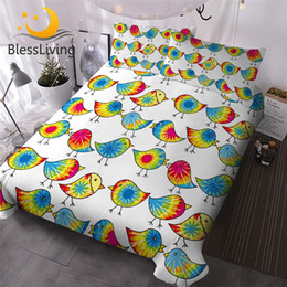 bird comforter sets 2019 - BlessLiving Tie Dyed Chicks Bed Cover Set Colorful Comforter Cover Cartoon Birds Kids Bedding Set Single Lovely Bedsprea