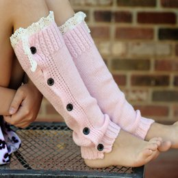 Wholesale Winter Warm Knitted Lace Trim Buttons Down Leg Warmers Crochet Boot Socks Children Pink Boot Cuffs