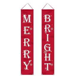 wall hanging signs UK - Christmas Porch Sign Bright and Merry Christmas Hanging Sign for Holiday Home Indoor Outdoor Porch Wall Christmas Decoration