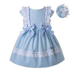 Wholesale Pre sale New Blue Baby Girls Dress With Bow Infant Kids Dress For Boutique Kids Clothing With Headband G dmgd201 c144 Y19061001