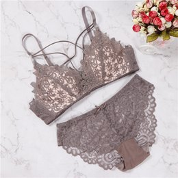Bra Set Line Australia - 2018 floral wireless bra lace lightly lined triangle  bra set underwear 9ef8353d4