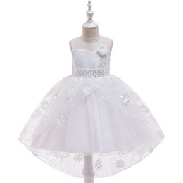 Flower Hi Lo Evening Gowns Australia - New Arrival Ballgown Flower Girls Dress for Prom Evening Hi-Lo Lace Communion Dresses Girl Birthday Party Dresses