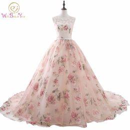 $enCountryForm.capitalKeyWord Australia - Vestido De Noche 2019 Pink Lace Applique Beaded Scoop Prom Dresses Princess Ball Gown Long Party Print Evening Dress Women Stock Y19042701