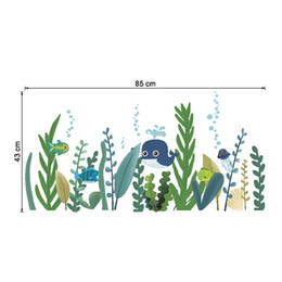 $enCountryForm.capitalKeyWord Australia - Submarine Grass Cartoon Animals Wall Decals Home Border Decor Art Wall Skirting Line Wall Mural Poster Art DIY Decoration Decal