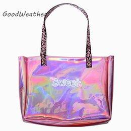 $enCountryForm.capitalKeyWord Australia - Designer pink women bag fashion large capacity shopping beach bag cute hologram high quality leather shoulder bag big bags woman