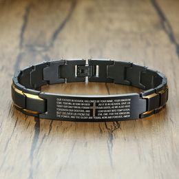 $enCountryForm.capitalKeyWord Australia - Stainless Steel Metal Bracelet Men Latin Japanese Korean Language Christian Lord's Prayer