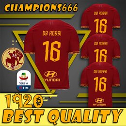 Soccer StadiumS online shopping - AS ROMA DDR CELEBRATIVE HOME STADIUM JERSEY De Rossi personalisation on the back and celebrative badge applied