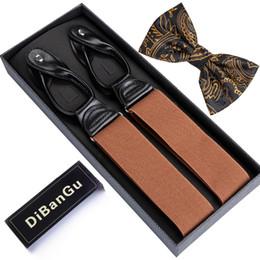 $enCountryForm.capitalKeyWord Australia - DiBanGu Mens Suspenders Orange Leather 6 Buttons Brace Strap Bowtie Set Fashion suspensorio Adjustable 3.5*125cm BD502-LJ031