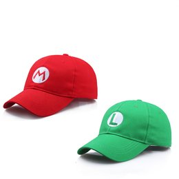 Chinese  Anime Super Mario Hat Cap Luigi Bros Cosplay Baseball Costume Halloween Carnival Party Costumes Prop Gift Kids Adult Wholesale manufacturers