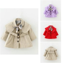 Tench cloThes online shopping - Baby Toddler girls spring lapel Waistband Windbreaker Coat Outerwear Jacket baby girl clothes