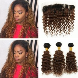 $enCountryForm.capitalKeyWord Australia - Medium Auburn Ombre Peruvian Human Hair Deep Wave Weaves with Frontal #1B 30 Ombre Deep Curly Human Hair Lace Frontal 13x4 with Bundles