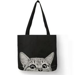 37299dda31a Cat Print Bag Australia - Fabric Traveling Shopping Bags Cute Kitty Cat  Print Tote Bag For