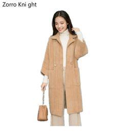 $enCountryForm.capitalKeyWord Australia - Zorro Kni Ght New Waterproof Velvet Jacket Female Long Section Loose Thick Striped Knit Cardigan Coat Autumn And Winter Sweater