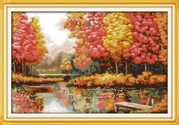 Golden Paintings Australia - Golden time lakeside Scenery Home decor painting ,Handmade Cross Stitch Embroidery Needlework sets counted print on canvas DMC 14CT  11CT