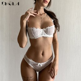 Wholesale bra cup b sizes resale online - Ultrathin lingerie set plus size bras A B C Cup sexy lace bra set transparent women underwear black embroidery Bow Y200115