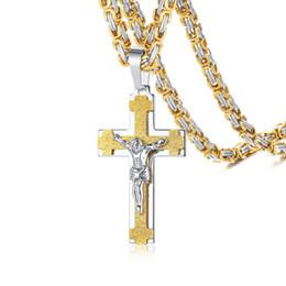 $enCountryForm.capitalKeyWord UK - Men Necklace Catholic Jesus Christ On INRI Crucifx Cross Stainless Steel Pendant Byzantine Free Chains Vantage Male Gifts PN-115