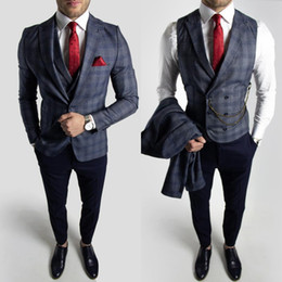 navy check suit Australia - Navy Plaid Wedding Groom Tuxedos Summer Handsome Grey Slim Fit Pants Suits Prom Party Mens Formal Wear(Jacket+Vest+Pants)