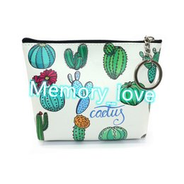 $enCountryForm.capitalKeyWord Australia - Cactus Coin Purse Promotional PU Cute Small Purse Floral Cosmetic Bag PU printing new zero wallet students zipper wallet small gifts