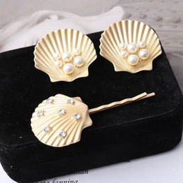 Earrings For Summer Australia - MENGJIQIAO 2019 New Design Gold Color Shell Pearl Stud Earrings Summer Style Hairpins For Women Gilrs Fashion Jewelry Sets