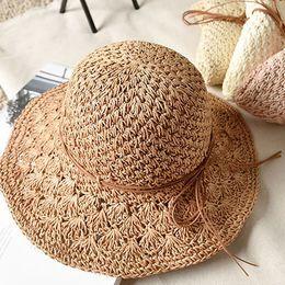 Foldable Flats Wholesale Australia - Fashion Sunscreen Beach Foldable Straw Hat Summer Bow Vacation Caps Breathable Cute Women Wide Brim Hats