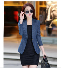 Wholesale hot business woman suit resale online - Hot Spring women Lapel Business suit One Button Single breasted Female Blazer jacket coat Tops long sleeve short jacket coat Outerwear