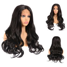 synthetic hair wholesalers NZ - Black Long Synthetic Lace Front Wigs With Natural Hairline Big Wave Lace Frontal Hair Wig For Women 1B# 18''-22''