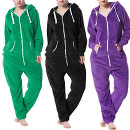 $enCountryForm.capitalKeyWord NZ - Womens Pure Color Comfy Brushed Plush Thickening Zipper One Piece Jumpsuit Pyjama Onesie Women Nightwear Sleepwear #400878