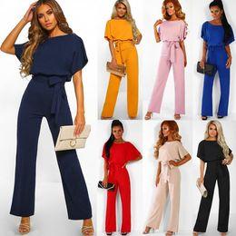 $enCountryForm.capitalKeyWord Australia - Women Solid Short Sleeve Jumpsuits 7 Colors Loose Trousers Wide Leg Pants Rompers Women Office Overalls Outdoor Pants LJJO6576