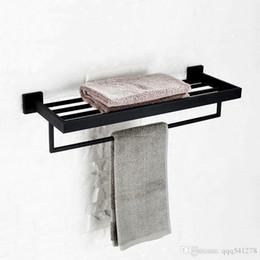 Chrome Metal Rack Australia - Black bathroom towel holder double deck wall mounted towel rack stainless steel polished blackand chrome plated choice