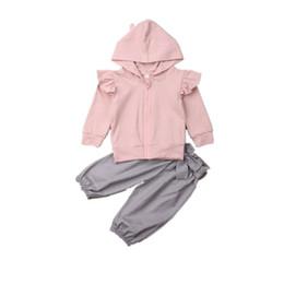 $enCountryForm.capitalKeyWord Australia - Autumn 2019 Toddler Baby Girls Clothes Ruffle Sleeve Hood Zipper Top Coat Long Pants Outfit